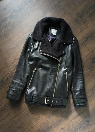 Кожаная куртка косуха под дубленку xs размер