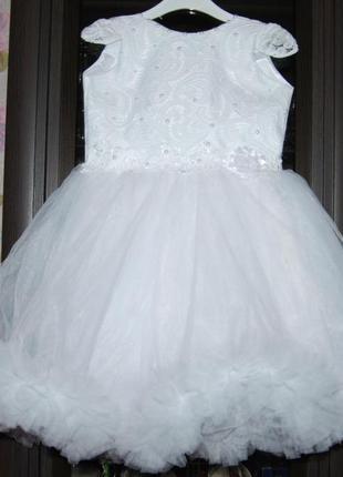 Пышное бальное платье 3-5 снежинка облачко
