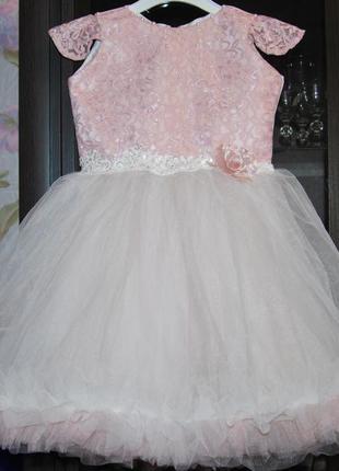 Пышное бальное платье 3-5 лет облачко пудра