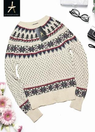 Теплый свитер в зимний паттерн atmosphere