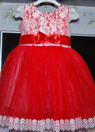 Пышное бальное платье 3-4 года кружева красное
