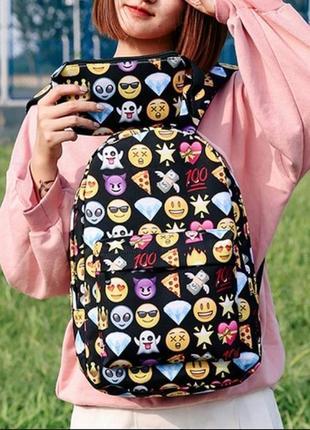 🔥🔥🔥рюкзак женский для школы со смайликами эмодзи (emoji) + пенал