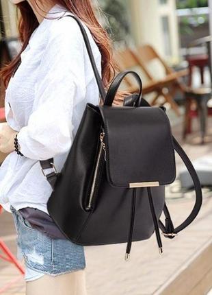🔥🔥🔥черный женский рюкзак из кожзама, кожаный рюкзак, рюкзак для школы