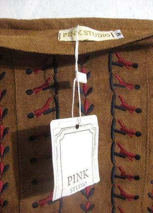 Юбка pink studio замш коричневая вышивка разноцветная