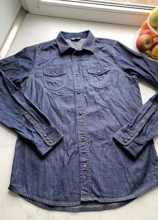 Стильная джинсоваяая рубашка на кнопках diesel  l