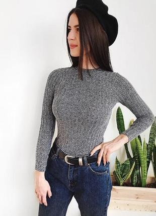 Новый женский гольф серый гольфик в рубчик кофта кардиган свитер