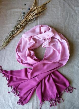 Розовый шарф палантин вискоза градиент