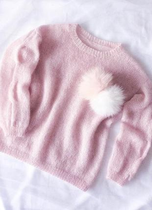 Невероятно нежный пуловер из итальянского кид мохера на шелке☁️