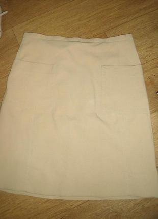 Бежевая юбка zara с карманами