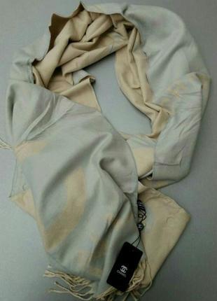 Chanel шарф женский шерстяной теплый голубой с бежевым