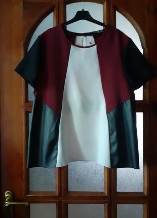 Блузка топ трапеция цвет марсала с кожаными вставками размер eur-44