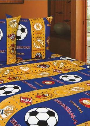 Постельное белье детское футбол сине-желтый