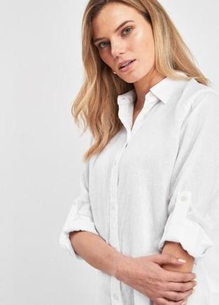 Льняная бела длинная рубашка туника 100% лён размер 12 next