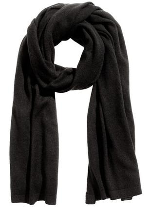 Большой черный шарф/ палантин/шаль ,100% кашемир р. 63х230 , от h&m