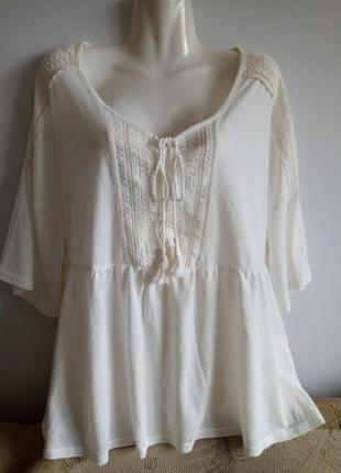 Белая блуза под вышиванку, от f&f, р. 16