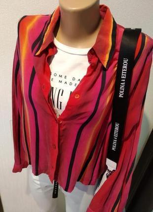 Крутая шелковая блузка рубашка оверсайз яркая мягусенькая