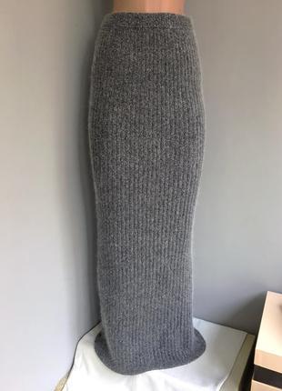 Юбка тёплая вязаная, длинная в пол, ангора с шёлком, s/m/l.