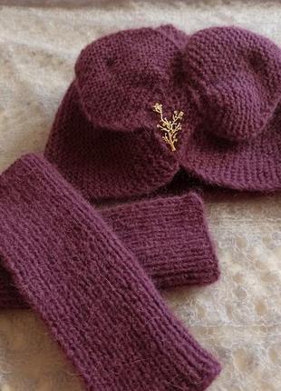 Комплект набор шапка митенки полуперчатки зимние теплые вязаные