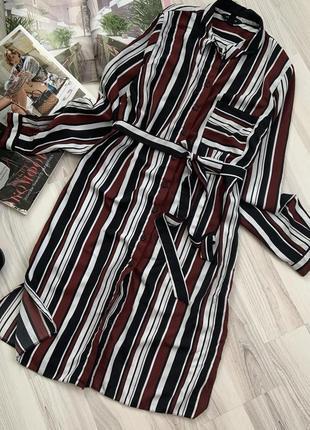 Рубашка платье миди в полоску