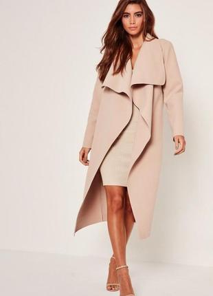 Красивое пальто на запах беж 12 л