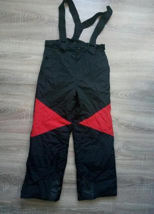 Детские подростковые лыжные штаны унисекс на подтяжках бретелях