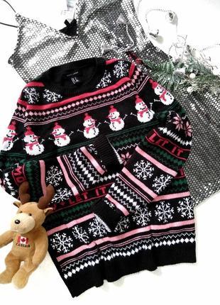 Новогодний свитер с орнаментом, снежинки снеговики олени