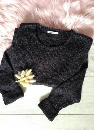 Свитер джемпер свитшот свободного фасона черный меланж gina tricot