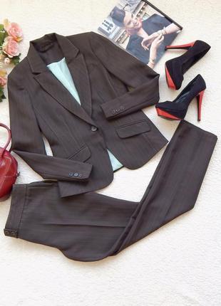 Деловой костюм в полоску пиджак и прямые брюки f&f
