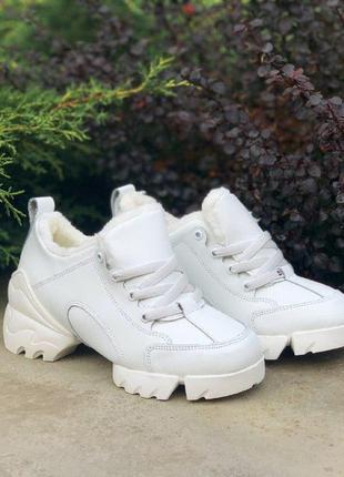 Шикарные женские зимние кроссовки с мехом christian dior white