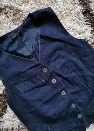 Жилетка жилет безрукавка темно синяя джинсовая bodyflirt