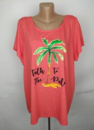 Блуза новая трикотажная красивая с пальмой большого размера george uk 24/52/5xl
