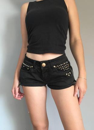 Чорные шорты,джинсовые шорты denim co