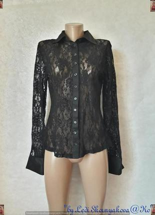 Фирменная oggi нарядная полностью кружевная блуза в чёрном цвете, размер л-ка