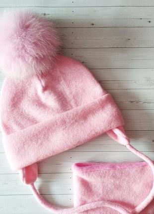 Ангоровый комплект шапка и снуд