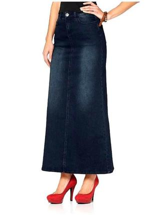 Крутая джинсовая юбка в пол.