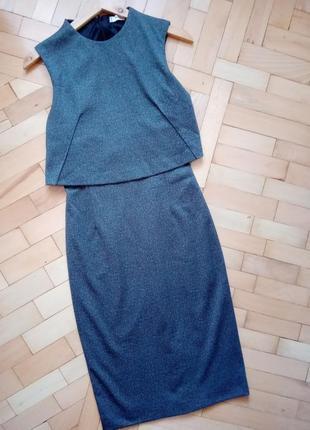 Стильное деловое платье-карандаш mango suit xs серое