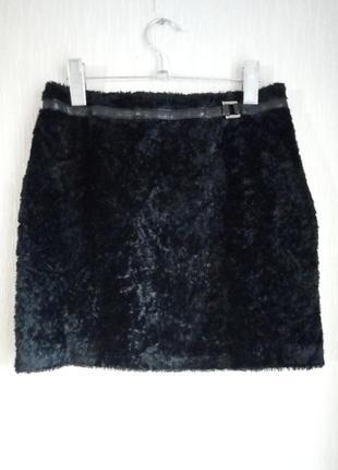 Черная меховая мини юбка от karen millen (велюровая, плюшевая)