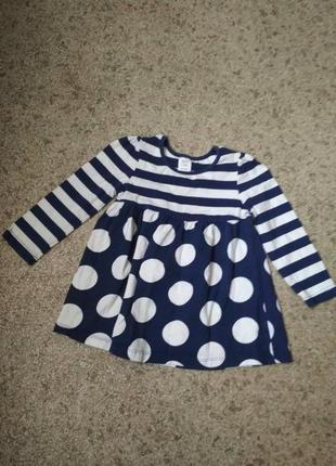 Трикотажное платье для девочки в полоску mini club 9-12 мес