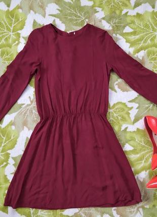 Бордова сукня h&m