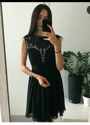 Шикарное черное платье с стразами/камнями/на выпускной