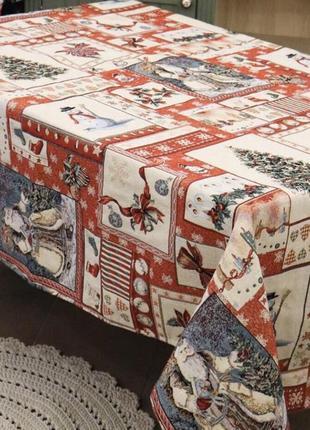 Новогодняя скатерть на раскладной стол 150х220 гобиленовая