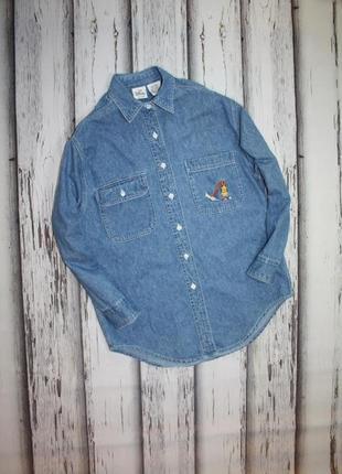Винтажная джинсовая рубашка с вышивкой disney p. xs-s