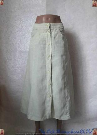 """Новая юбка миди со 100 % льна """"пугогвицы в ряд"""" в салатовом цвете, размер л-хл"""