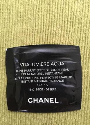 Пробники тонального chanel vitalumiere agua spf 15 тон b40 беж