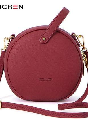 Маленькая женская модная оригинальная круглая сумочка weichen через плечо бордовая