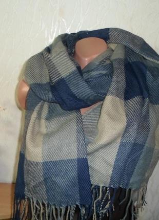Большой объемный шарф/плед/в клетку 180х63см плюс бахрома