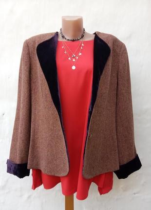 Новый теплый красивый 💯% шерстяной жакет с бархатной оторочкой,пиджак.