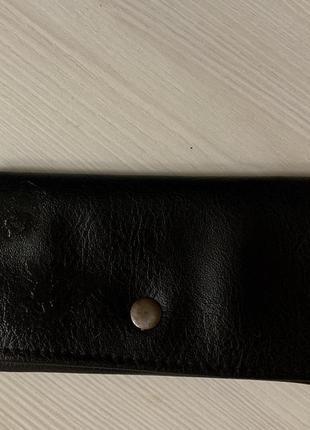 Чёрный кожаный кошелёк натуральная кожа