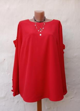Красивая эффектная красная блуза lindex,рюш,батл.
