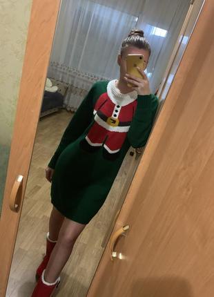 Свитер платье, туника новогодняя